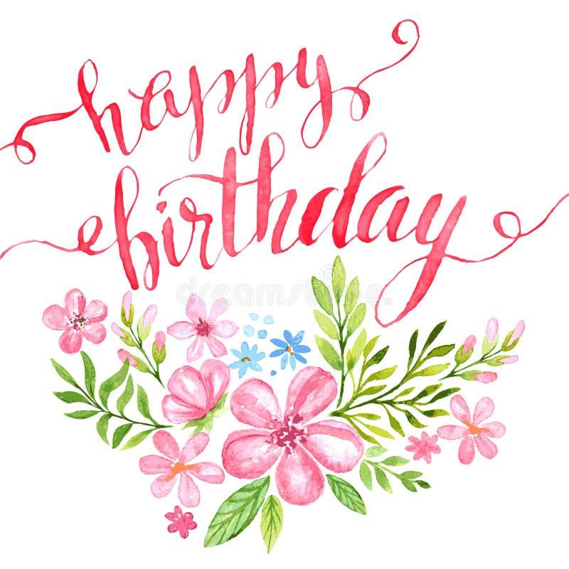 С днем рождения нарисованная вручную карточка вектор бесплатная иллюстрация