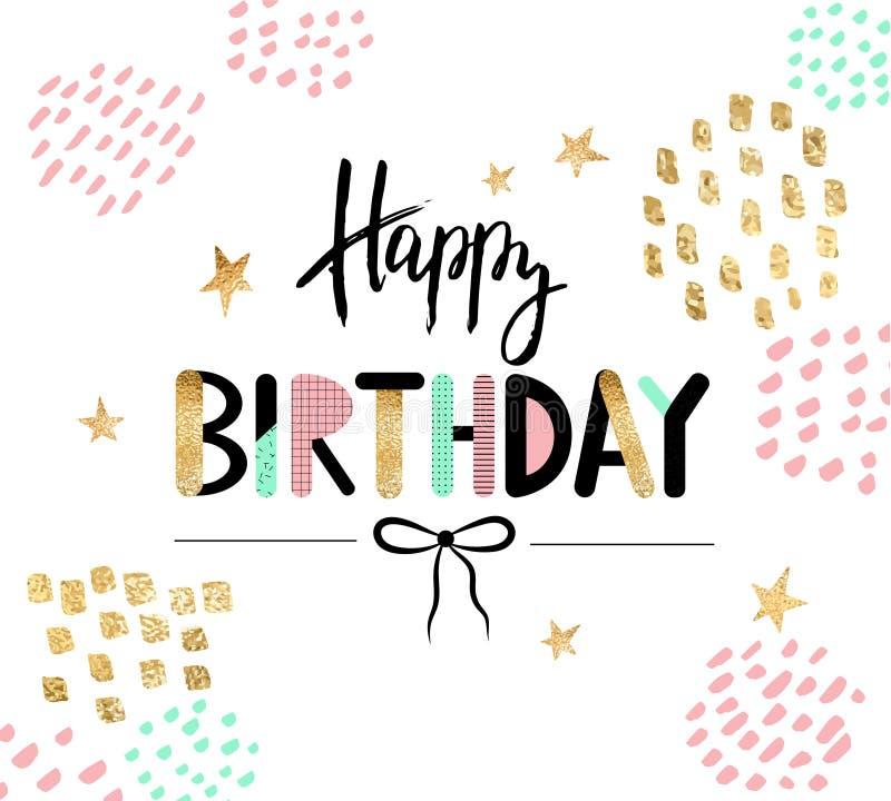 С днем рождения поздравительная открытка и шаблон приглашения партии также вектор иллюстрации притяжки corel иллюстрация штока