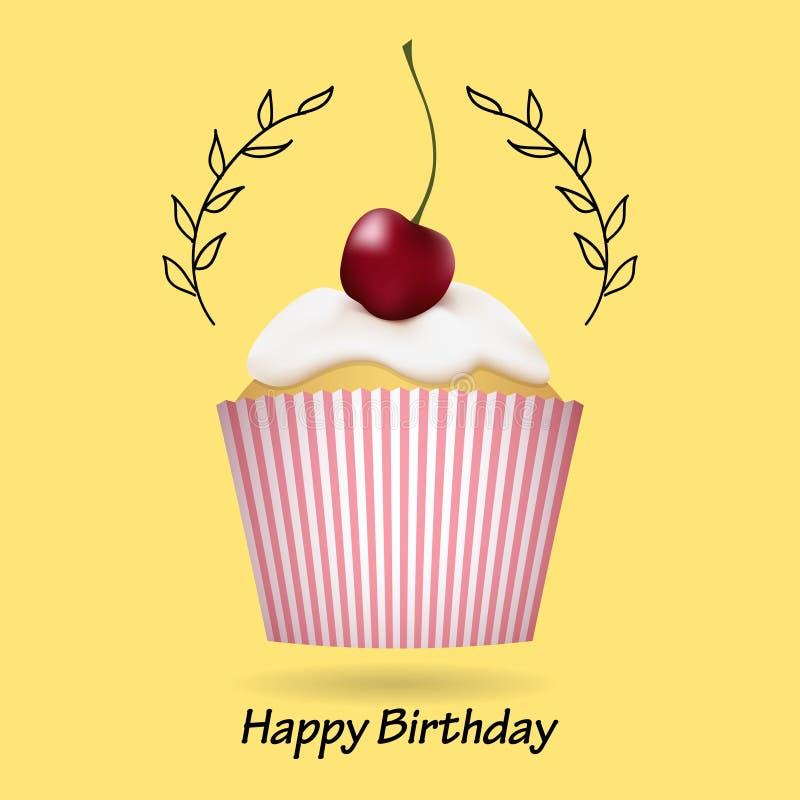 С днем рождения поздравительная открытка с милым пирожным бесплатная иллюстрация