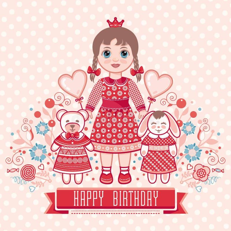 С днем рождения - поздравительная открытка для девушки иллюстрация вектора
