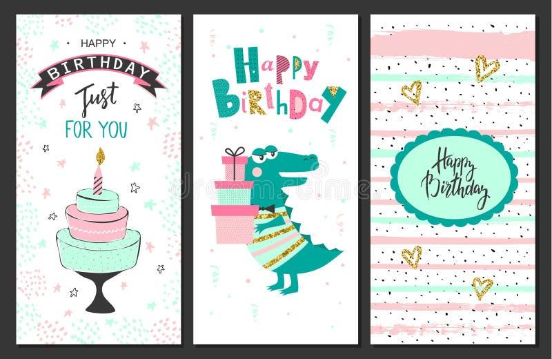 С днем рождения поздравительные открытки и шаблоны приглашения партии также вектор иллюстрации притяжки corel бесплатная иллюстрация