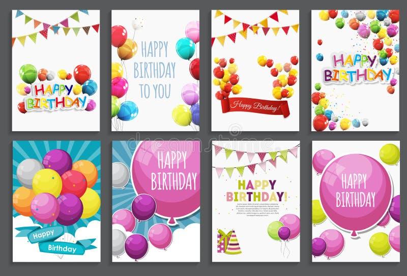 С днем рождения, приветствие праздника и комплект шаблона карточки приглашения с воздушными шарами и флагами также вектор иллюстр