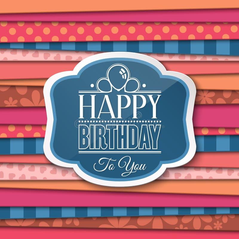 С днем рождения приветствия с ярлыком на предпосылке цвета вектор иллюстрация вектора