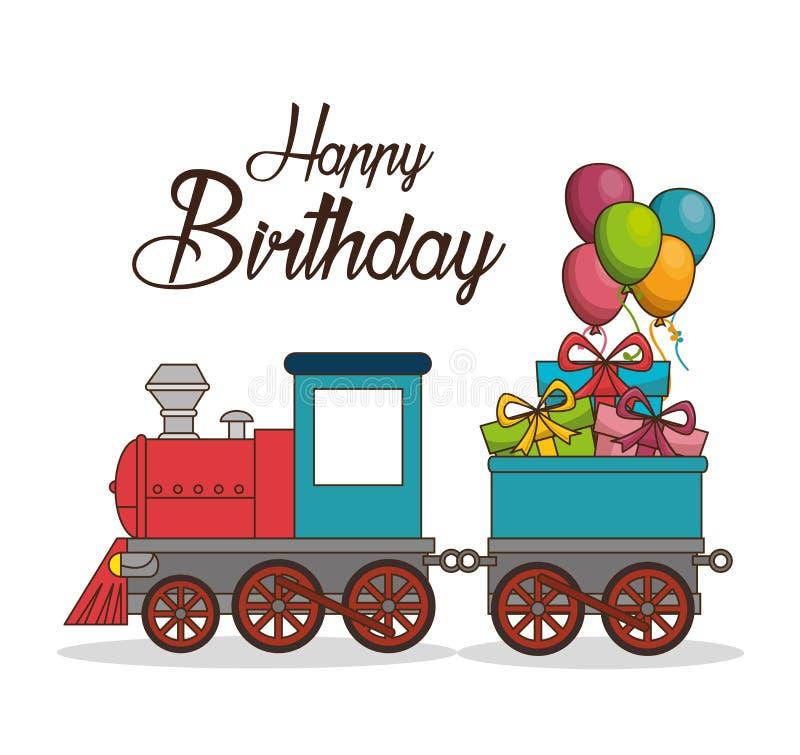 С днем рождения плакат поезда иллюстрация вектора