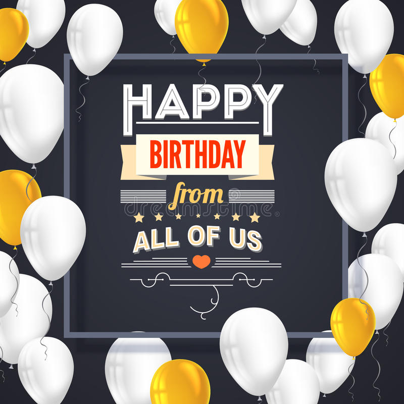 С днем рождения плакат с сияющими покрашенными воздушными шарами на темной предпосылке с литерностью также вектор иллюстрации при иллюстрация вектора