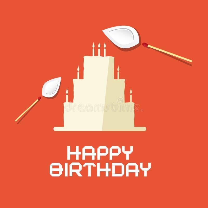 С днем рождения плоский торт бумаги дизайна иллюстрация вектора