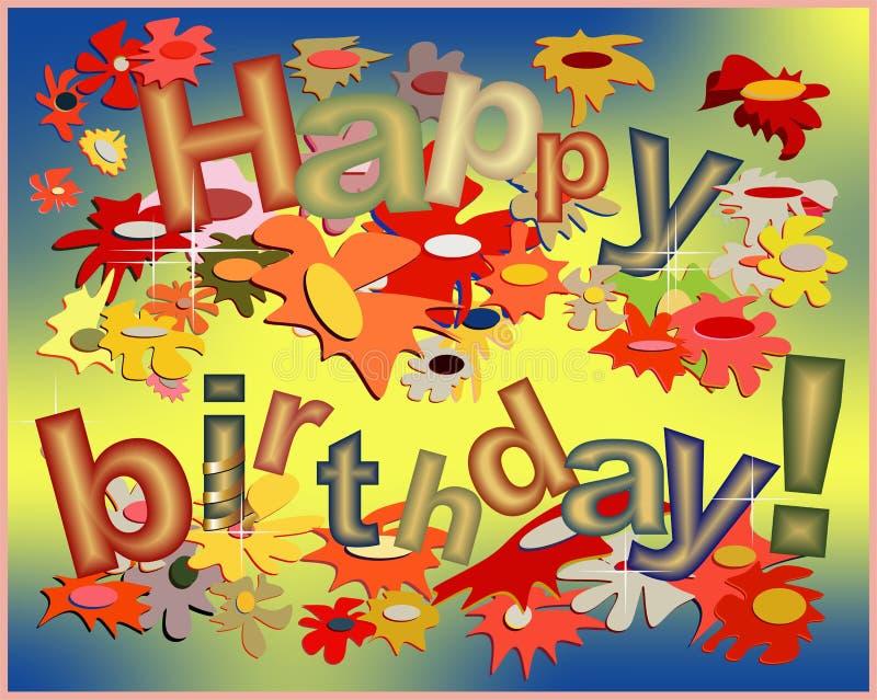 С днем рождения смешная карточка иллюстрация вектора