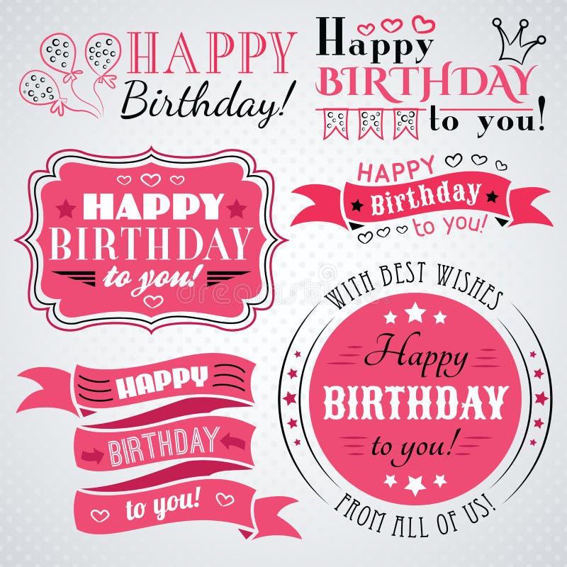 С днем рождения собрание поздравительной открытки в празднике иллюстрация вектора