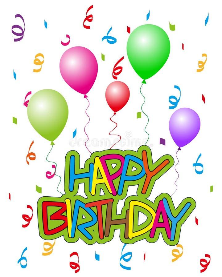 С днем рождения с воздушными шарами 2 бесплатная иллюстрация