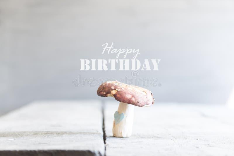 С днем рождения, текст и грибы стоковое изображение rf