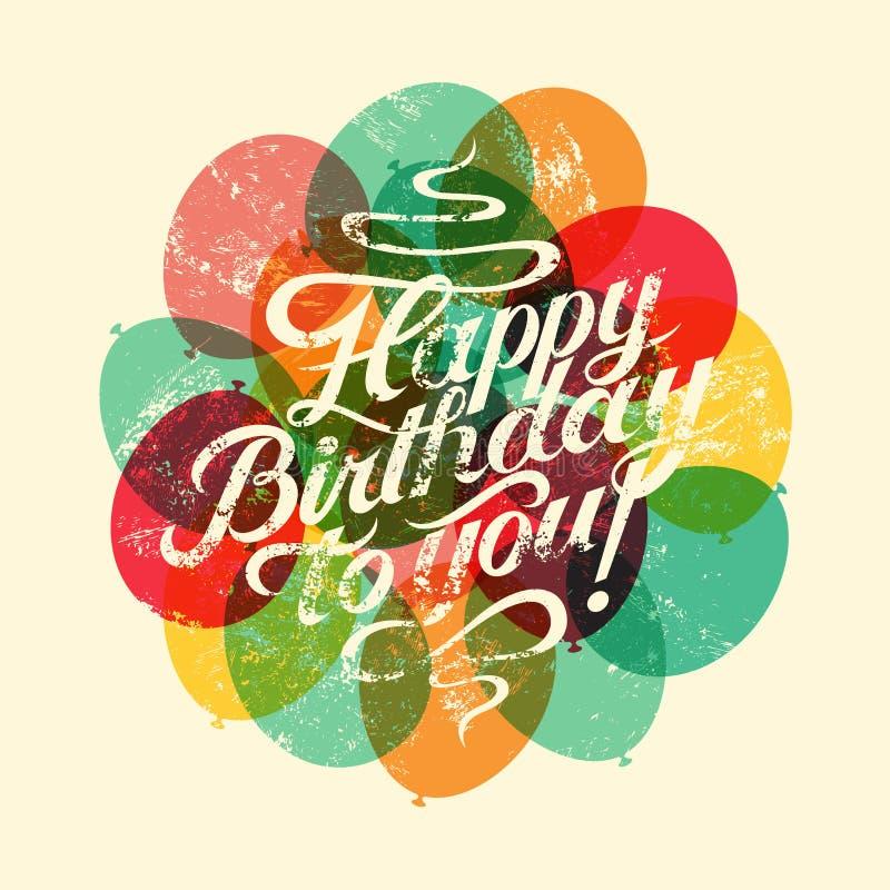 С днем рождения! Типографская ретро поздравительая открытка ко дню рождения grunge также вектор иллюстрации притяжки corel иллюстрация штока