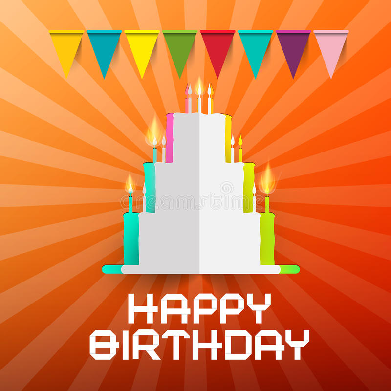 С днем рождения торт отрезка бумаги с Candlesground бесплатная иллюстрация
