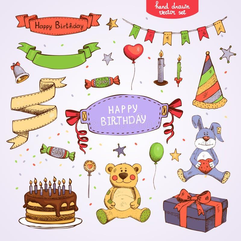С днем рождения установленный иллюстрация штока
