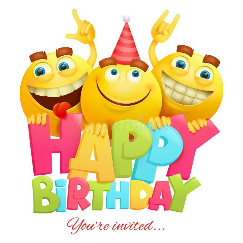С днем рождения шаблон карточки приглашения с 3 характерами emoji стоковое фото rf
