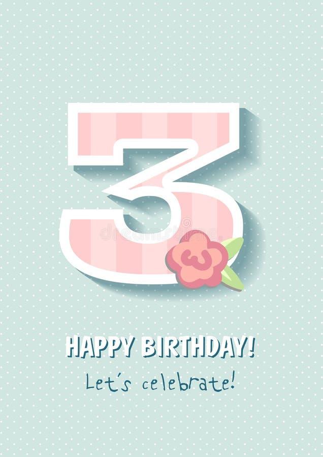С днем рождения для девушки 3 года иллюстрация вектора