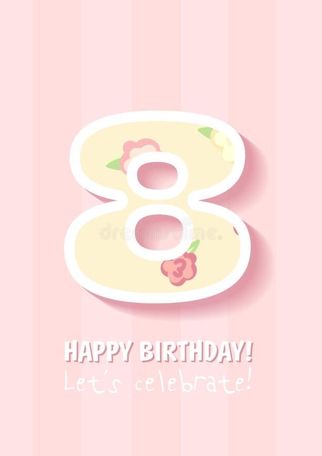 С днем рождения для девушки 8 лет иллюстрация штока