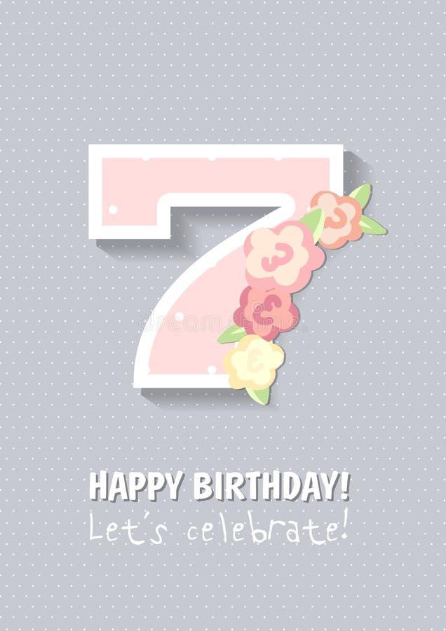 С днем рождения для девушки 7 лет иллюстрация вектора