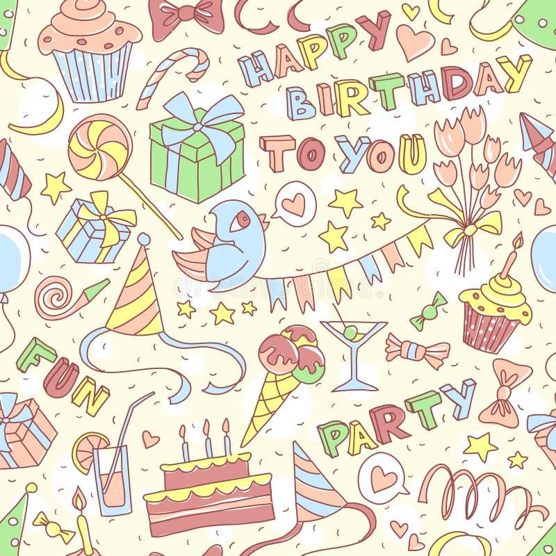 С днем рождения party приветствующ безшовную картину с l нарисованным рукой иллюстрация штока
