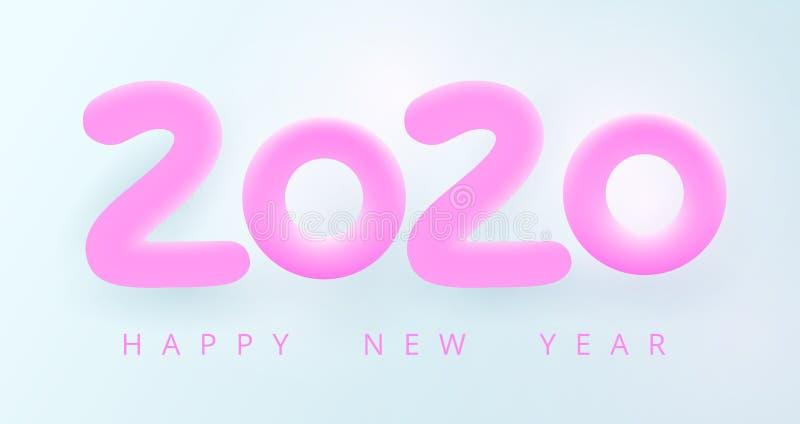 С Новогодним 2020 годом векторная иллюстрация праздника бесплатная иллюстрация