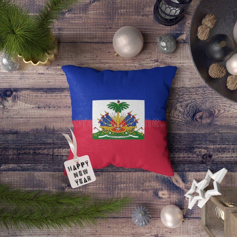 С Новым Годом! бирка с флагом Гаити на подушке r стоковые изображения