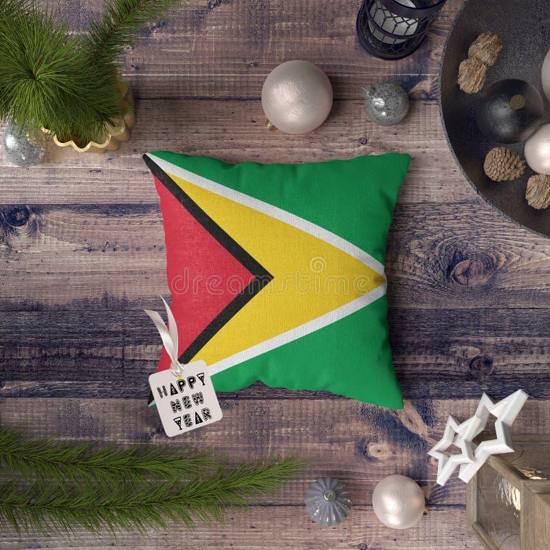 С Новым Годом! бирка с флагом Гайаны на подушке r стоковое изображение