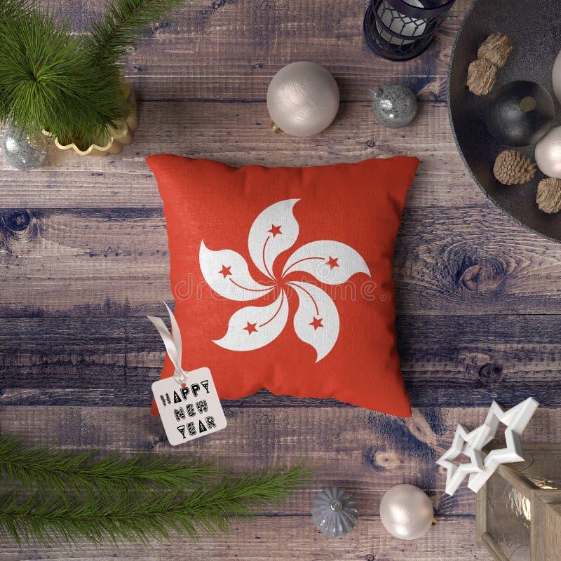 С Новым Годом! бирка с флагом Гонконга на подушке r стоковые изображения rf