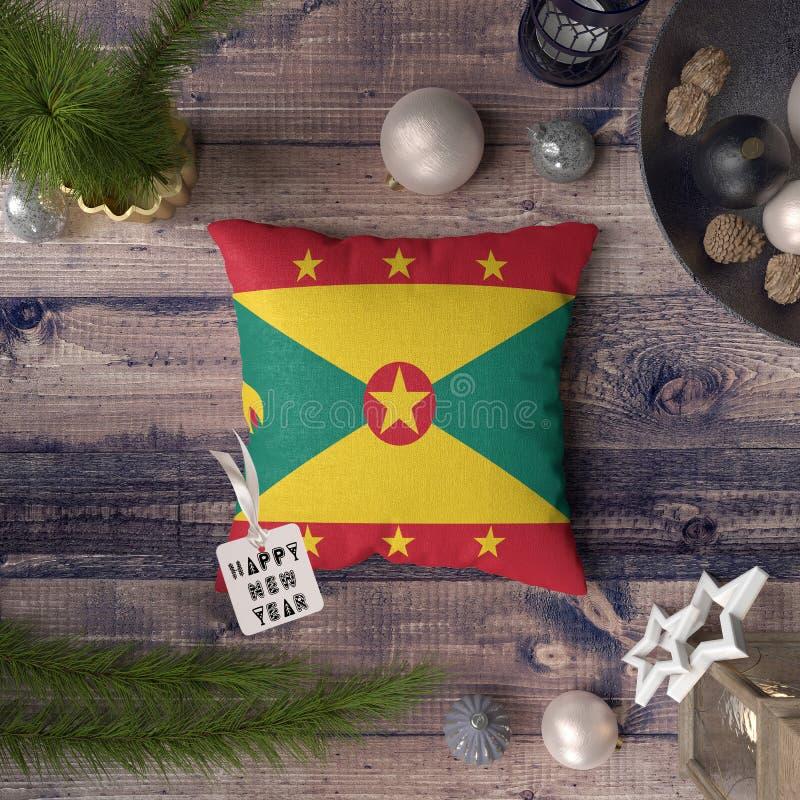 С Новым Годом! бирка с флагом Гренады на подушке r стоковые изображения