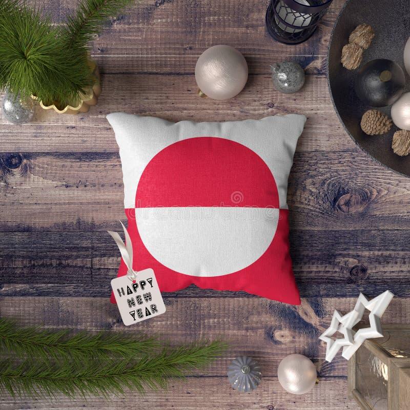 С Новым Годом! бирка с флагом Гренландии на подушке r стоковое изображение