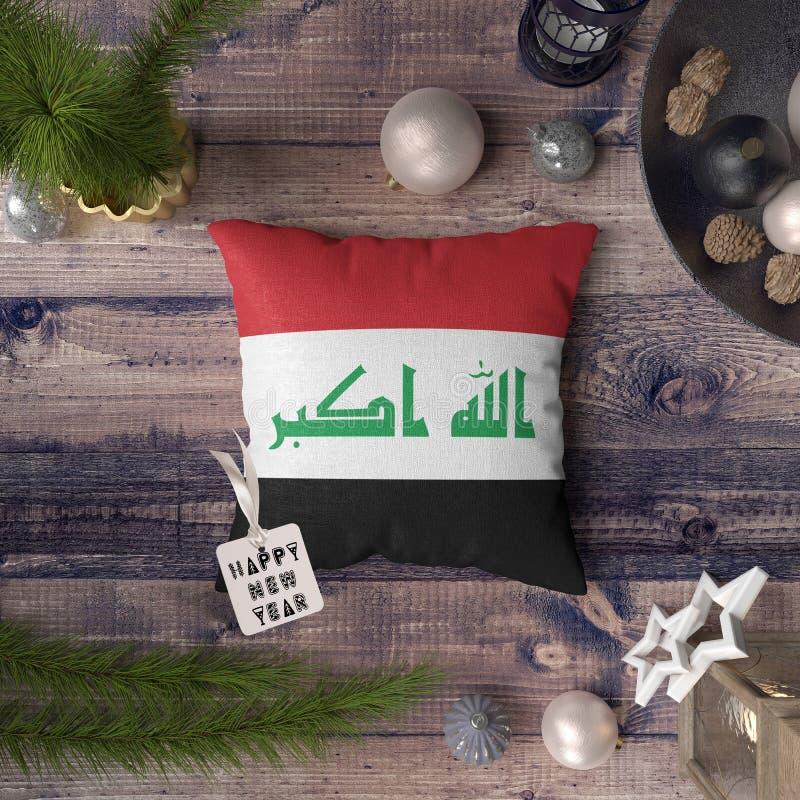 С Новым Годом! бирка с флагом Ирака на подушке r стоковое изображение