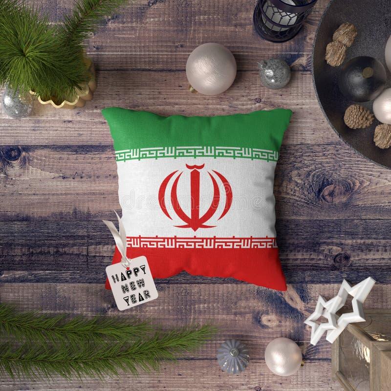 С Новым Годом! бирка с флагом Ирана на подушке r стоковое фото