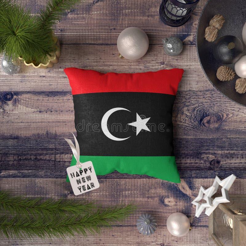 С Новым Годом! бирка с флагом Ливии на подушке r стоковое изображение rf