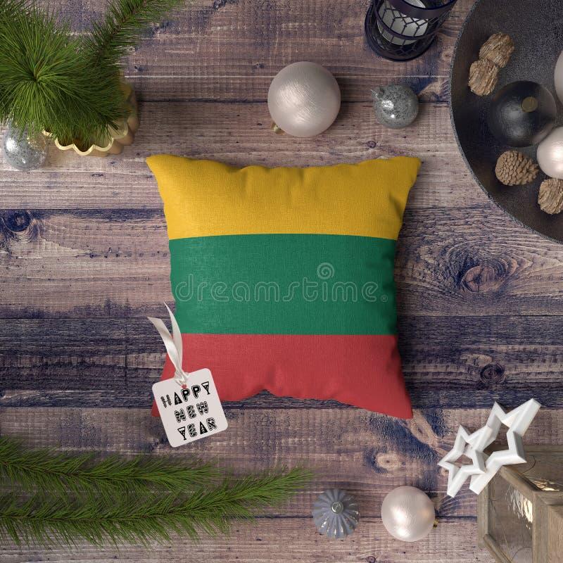 С Новым Годом! бирка с флагом Литвы на подушке r стоковое изображение rf