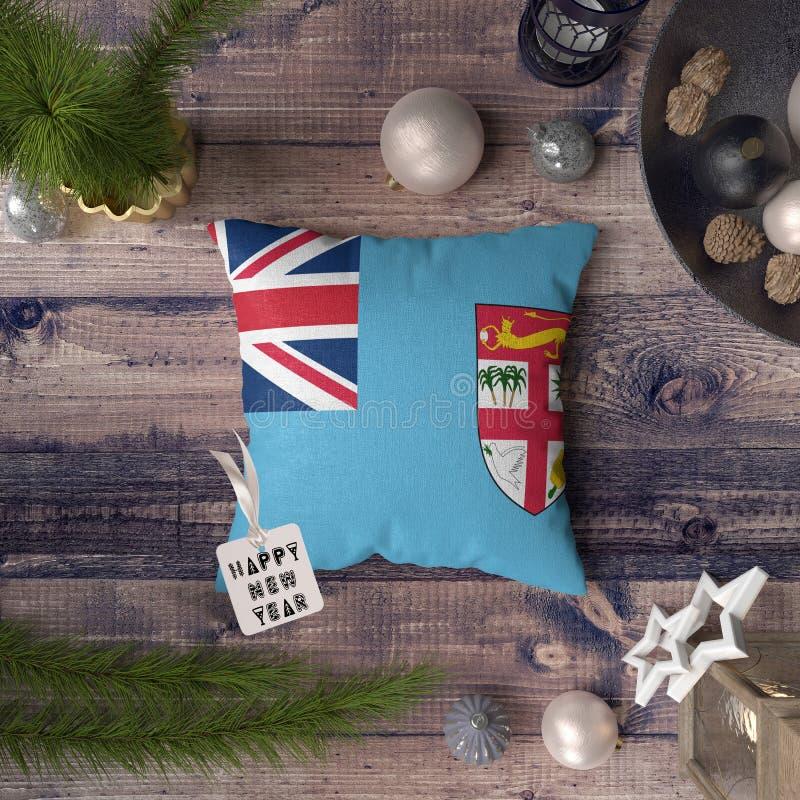 С Новым Годом! бирка с флагом Фиджи на подушке r стоковые изображения