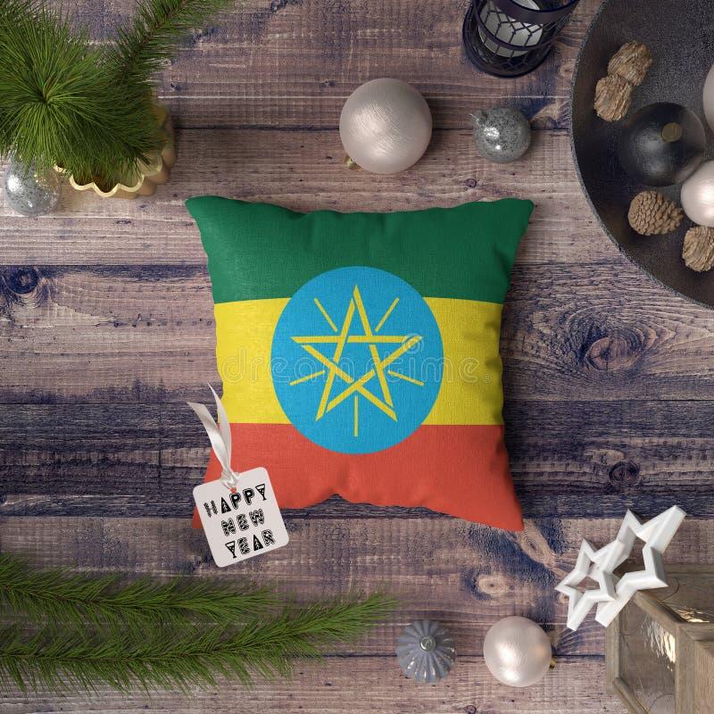 С Новым Годом! бирка с флагом Эфиопии на подушке r стоковое фото