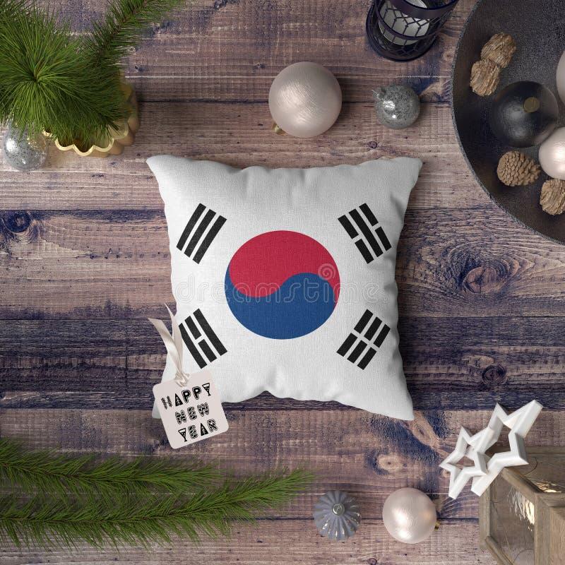 С Новым Годом! бирка с флагом Южной Кореи на подушке r стоковые изображения rf