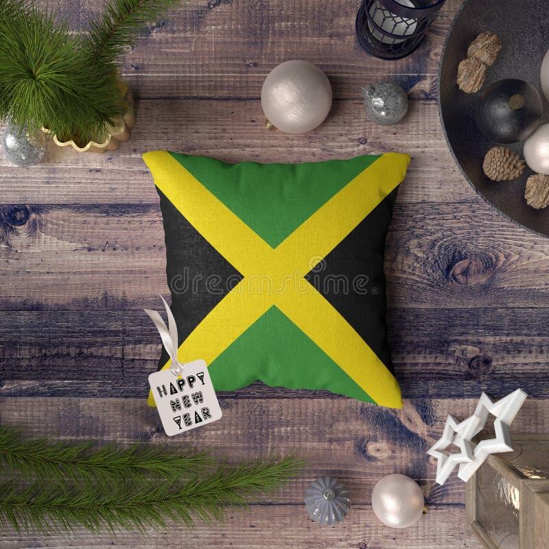 С Новым Годом! бирка с флагом Ямайки на подушке r стоковая фотография