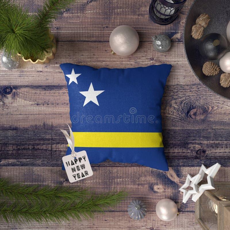 С Новым Годом! бирка с флагом Curacao на подушке r стоковые изображения rf