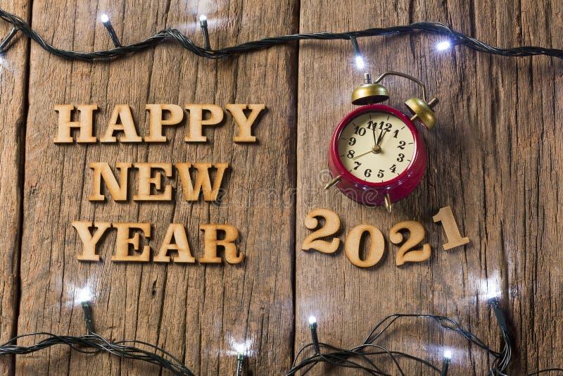 С Новым Годом! - деревянная предпосылка стоковое изображение rf