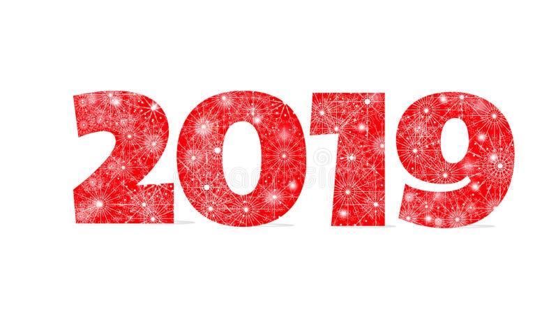 С Новым Годом! дизайн зимы праздника 2019 красных номеров орнамента рождества со снежинками изолированными на белой предпосылке иллюстрация вектора