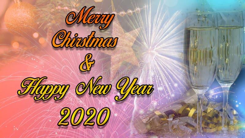 С Новым Годом! & дизайн 2020 плаката торжества рождества стоковое фото