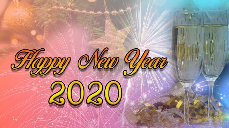 С Новым Годом! & дизайн 2020 плаката торжества рождества стоковые изображения rf