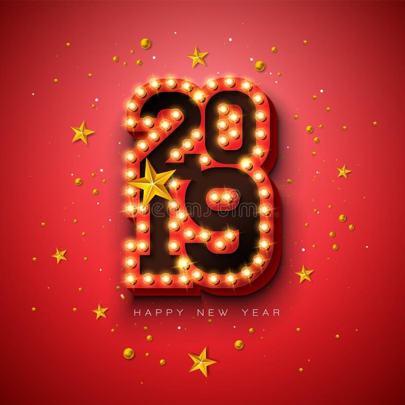 2019 С Новым Годом! иллюстраций с литерностью оформления электрической лампочки 3d и звезда золота на красной предпосылке Дизайн  бесплатная иллюстрация