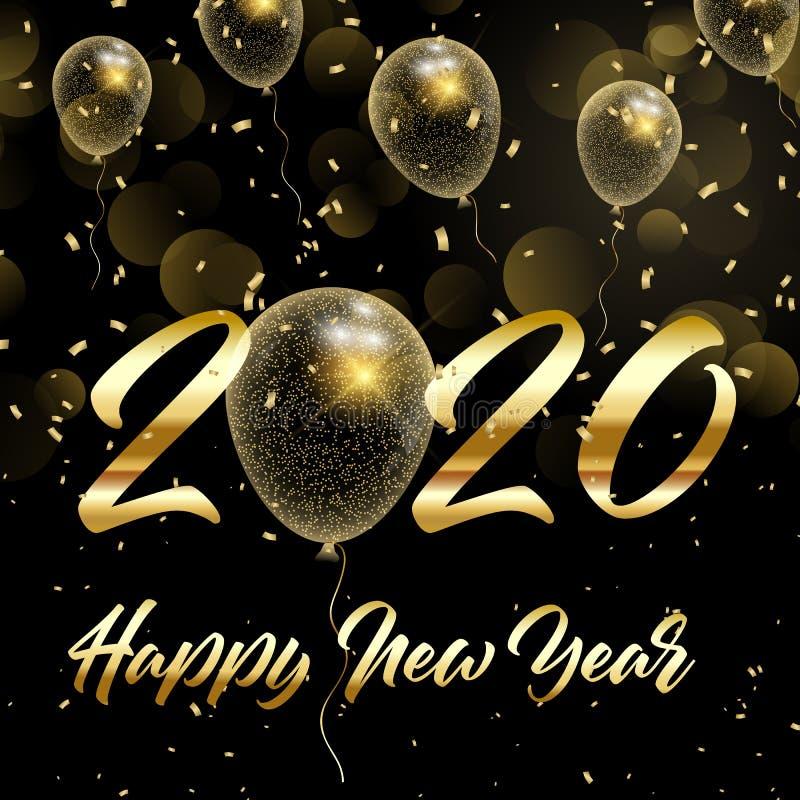 С Новым Годом и золотыми блестящими шариками бесплатная иллюстрация