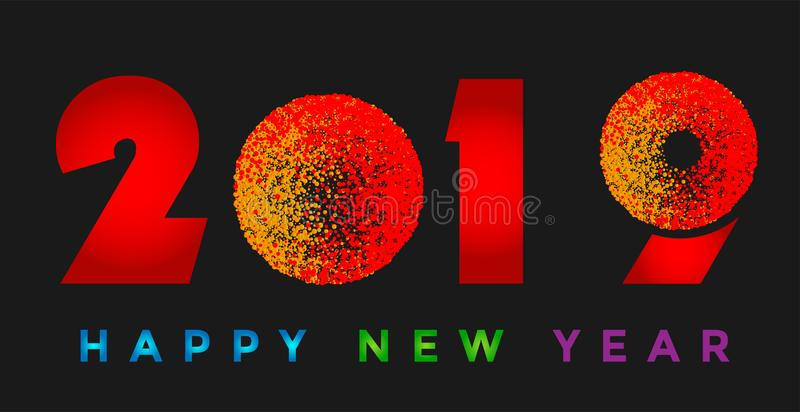 С Новым Годом! 2019 карта и красочный приветствуя значок дизайна текста на черной предпосылке иллюстрация вектора