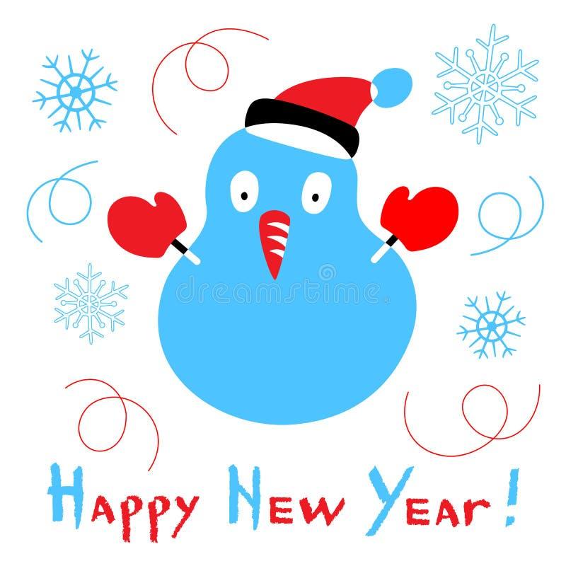 С Новым Годом! карта со стилизованным снеговиком на белой предпосылке бесплатная иллюстрация