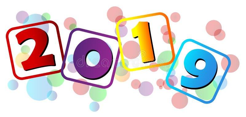 С Новым Годом! красочный приветствуя дизайн пузыря 2019 иллюстрация вектора