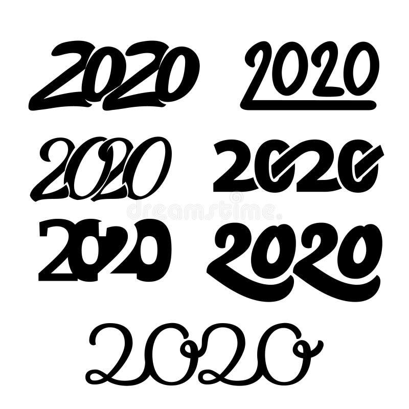 2020 С Новым Годом! наборов номеров иллюстрация вектора