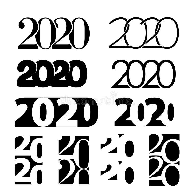 2020 С Новым Годом! наборов номеров иллюстрация штока