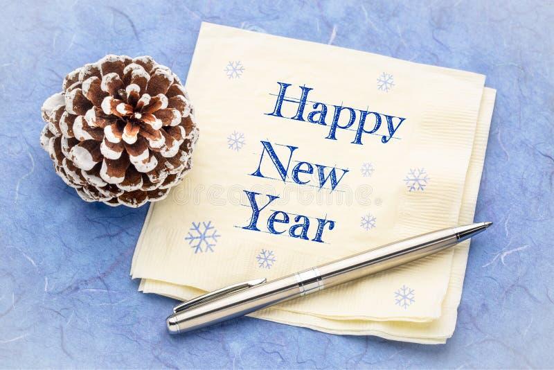 С Новым Годом! на салфетке стоковые фотографии rf