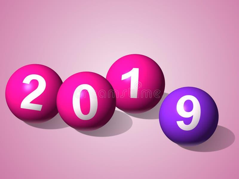 2019 С Новым Годом! на типе иллюстрации шарика на светлом - розовая предпосылка иллюстрация вектора